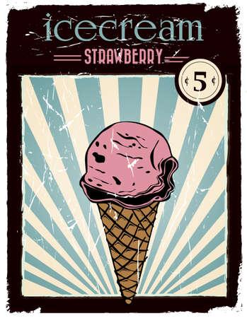 vintage strawberry advertisement poster Illustration