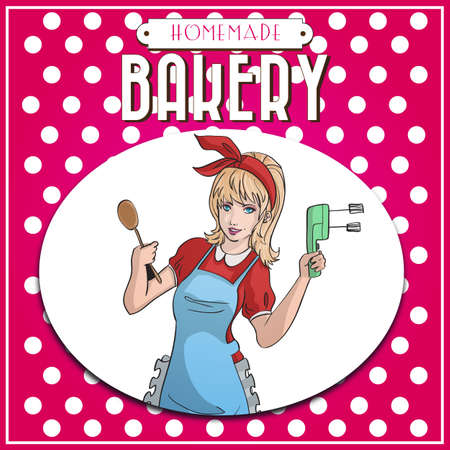 vintage bakery poster with retro pin up housewife