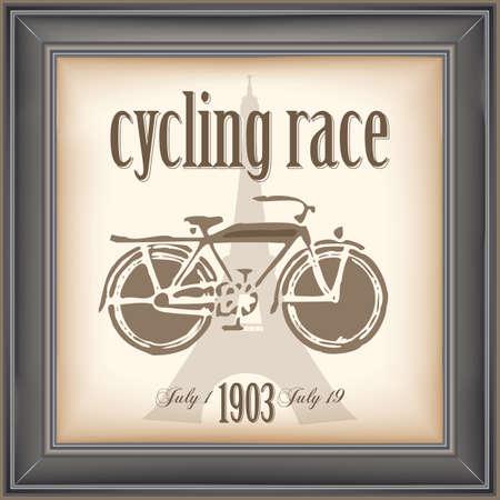 course cycliste: affiche de la course cycliste de cru Illustration