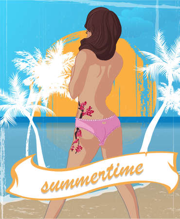 summertime poster with palm trees and hot girl in the front Vector