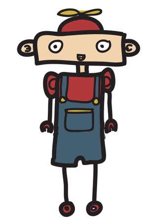 little boy robot Illustration