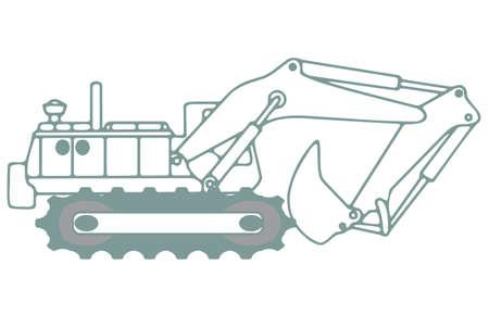 excavating machine: excavator Illustration