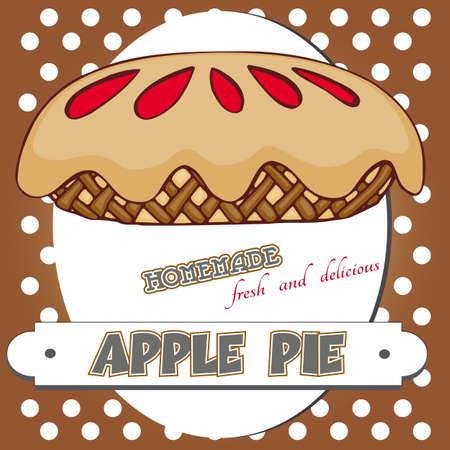 pastel de manzana: cartel pastel de manzana Vectores