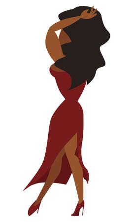 latina america: Image of a Latina dancer from behind dancing the flamenco