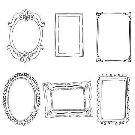 bordes decorativos: Conjunto de marcos de estilo victoriano en blanco y negro
