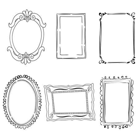 Set of black and white victorian frames
