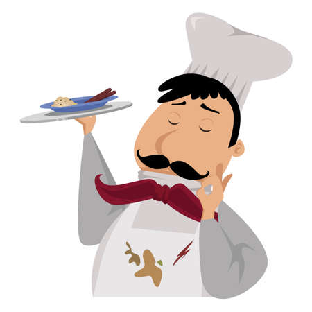 cartoon chef with dirty apron serving his latest creation