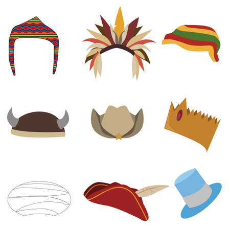 dressing up: collection of costume hats for dressing up easy to adjust as you wish Illustration