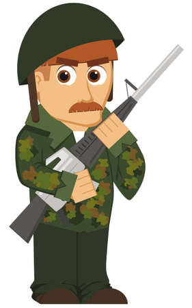 soldier with rifle: isolated cartoon soldier posing with a rifle Illustration