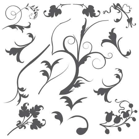 Collection of gray toned swirls flourish