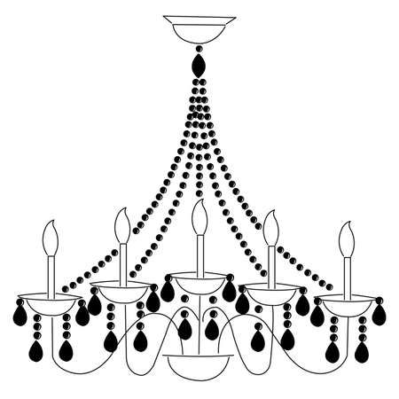 chandelier background: Isolated simple chandelier on a white background