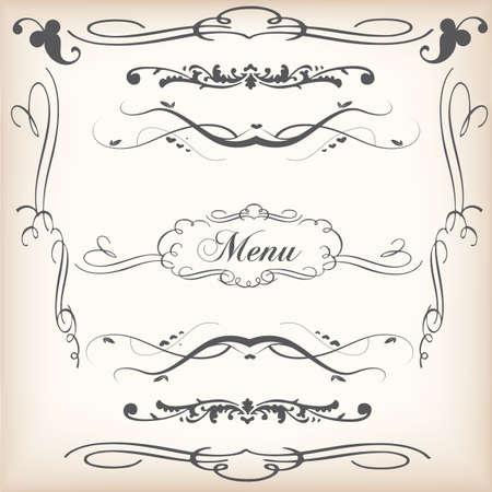 collection of ornamental decorative swirls Illustration