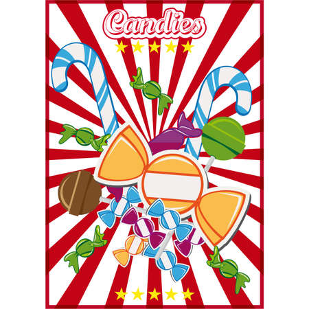 Vintage candy poster with candies and lollypops on a striped red and white retro background