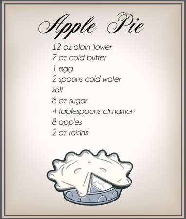apple pie: poster of a classic apple pie recipe with retro apple pie on an old paper background Illustration