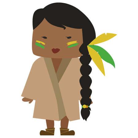 cartoon image of a Native American girl with a nice hairdo