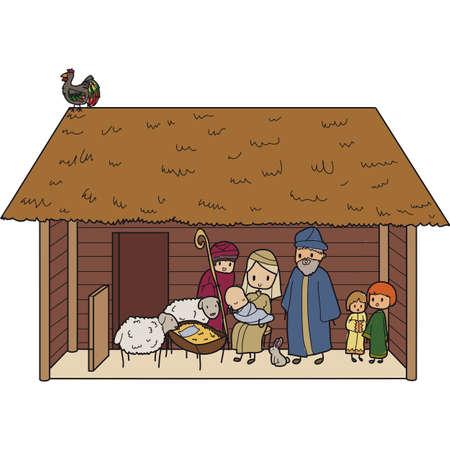 illustration d'une crèche de Noël avec la Vierge Marie et l'enfant Jésus