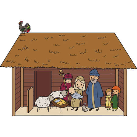 illustration of a Christmas crib with Virgin Mary and baby Jesus