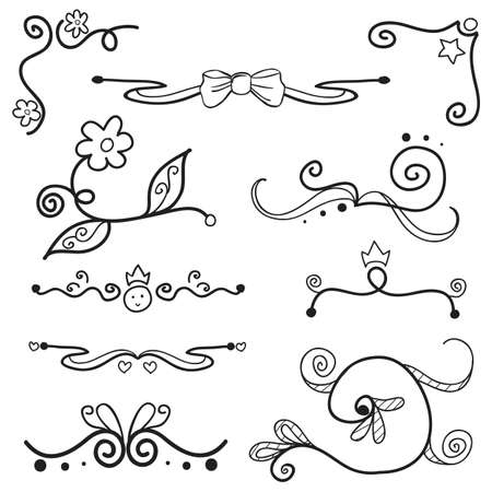 doodle style swirls with girly elements Illustration
