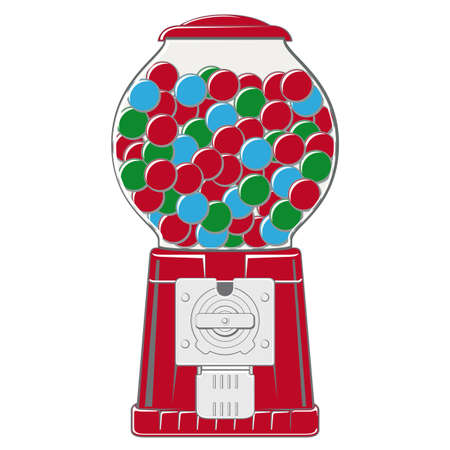 Vintage red chewing ball vending machine
