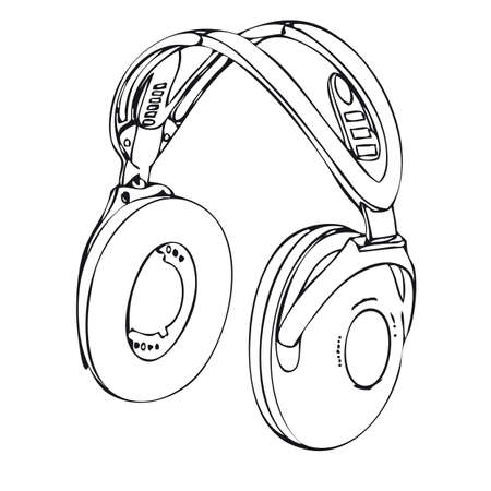 hand drawn wireless headphone isolated on a white background