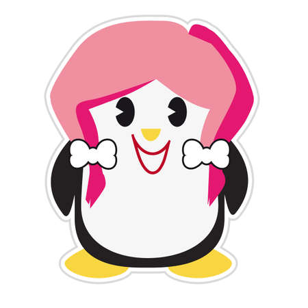 Cartoon image of a teenage penguin with pink hair and a big smile isolated on a white background