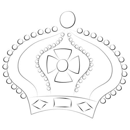 Sketch of a king or queen crown isolated on a white background