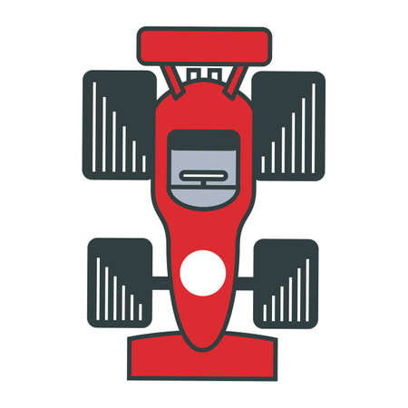 Close up of a red race car from the top isolated on a white background