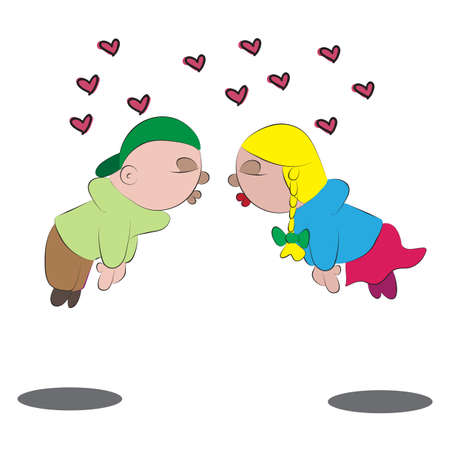 Cartoon love scene with two kids in love floating to be kissed