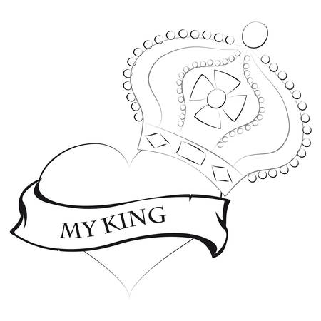 Pencil drawing of a heart shape with a king crown king and my text