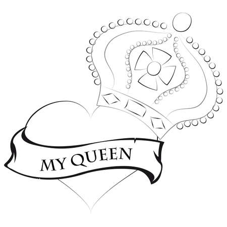 Pencil drawing of a heart shape with a queen crown on top and a ribbon saying my queen Illustration