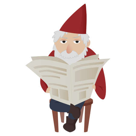 Classic image of a gardening gnome sitting on a chair reading a newspaper