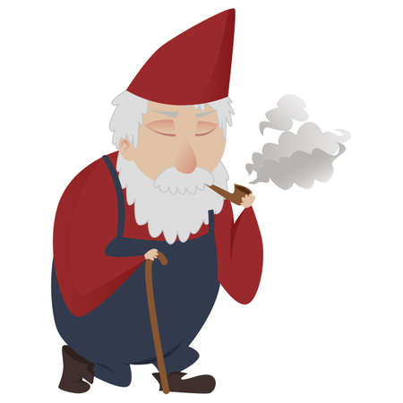 Classic garden gnome smoking a pipe with walking stick