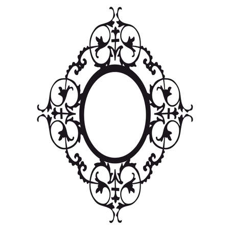 floral swirls: Victorian black frame isolated on a white background