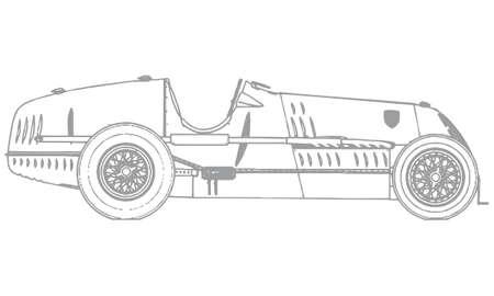 Gray outline of a retro sports car