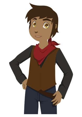 Young cartoon cowboy with jeans and red scarf posing for the camera Illustration