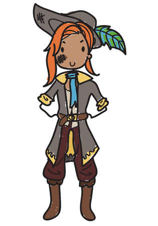 Doodle style female pirate with pirate hat