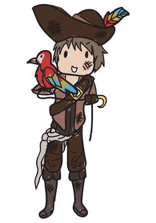 Doodle style boy pirate with a parrot on his sleeve and a pirate hat Ilustração