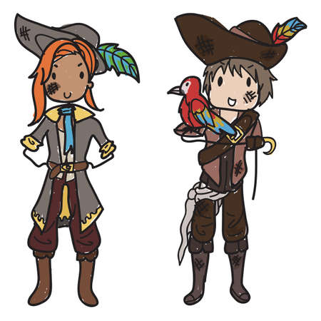Doodle style pirate couple with pirate hats and a parrot