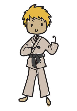 Doodle style male karateka in karate pose with black belt