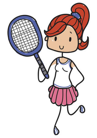 Doodle style female tennis player with racquet and pink skirt