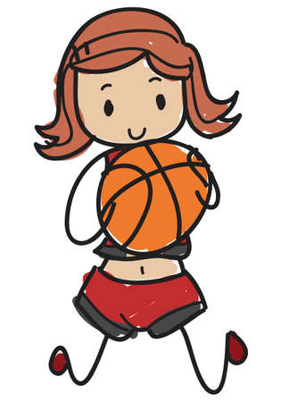 Doodle style cartoon basketball player with a basketball in the hands