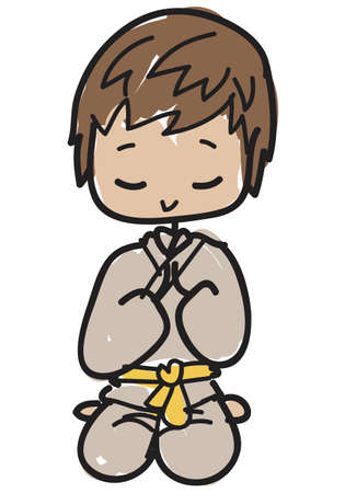 Doodle style young karateka with yellow belt kneeling to greet to start or end the lesson