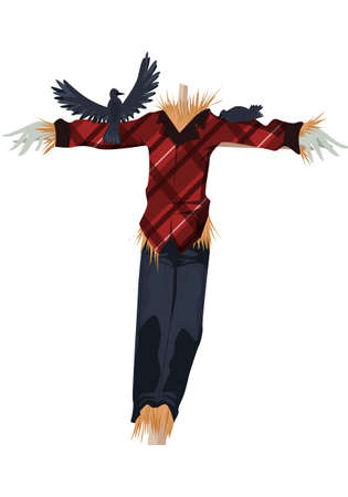 Image of a scarecrow with crows on his arm