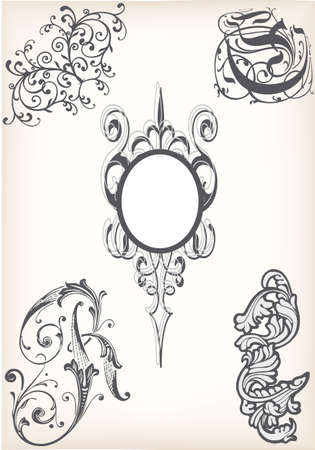 Set of victorian design elements with frame and floral swirls on an old paper background