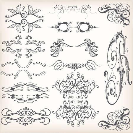 Set of vintage victorian borders Illustration