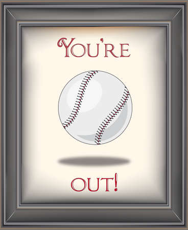 Framed retro baseball with baseball poster on old paper background and you are out typography Illustration
