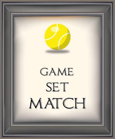 Framed retro poster with yellow tennis ball Ilustração