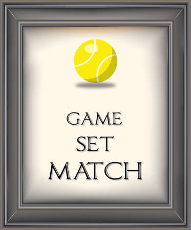 Framed retro poster with yellow tennis ball Illustration