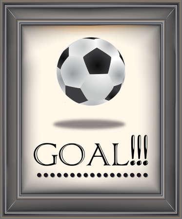 Framed Retro soccer poster with soccer ball vintage