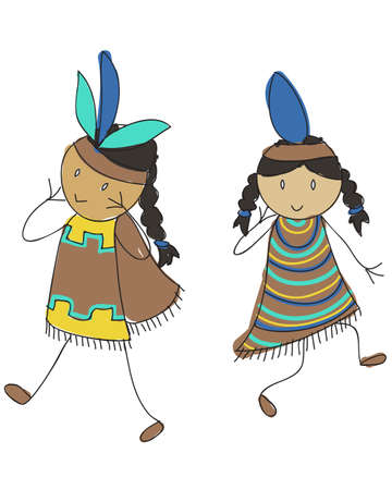 Two doodle style Native American kids